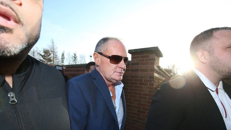 Former England footballer Paul Gascoigne arrives at Peterlee Magistrates Court