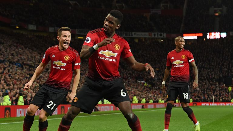 Paul Pogba celebrates his goal with a dance routine