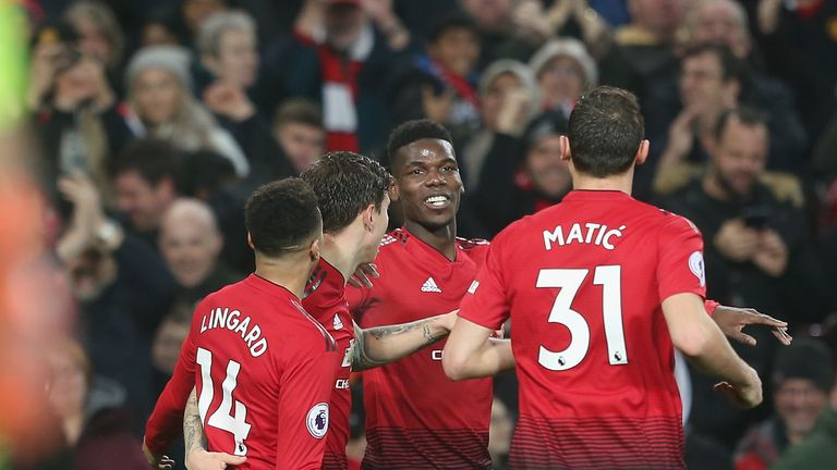 Paul Pogba celebrates doubling Manchester United's lead