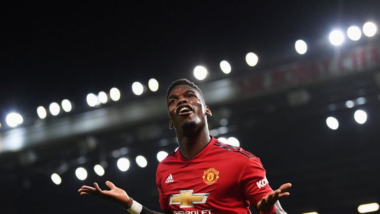 Paul Pogba celebrates scoring his and Manchester United's second goal