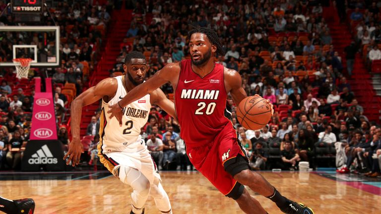 MIAMI, FL - NOVEMBER 30:  Justise Winslow #20 of the Miami Heat handles the ball against the New Orleans Pelicans on November 30, 2018 at American Airlines Arena in Miami, Florida. NOTE TO USER: User expressly acknowledges and agrees that, by downloading and or using this Photograph, user is consenting to the terms and conditions of the Getty Images License Agreement. Mandatory Copyright Notice: Copyright 2018 NBAE (Photo by Issac Baldizon/NBAE via Getty Images)