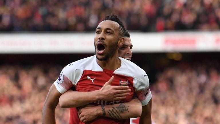 Pierre-Emerick Aubameyang celebrates scoring Arsenal's first goal