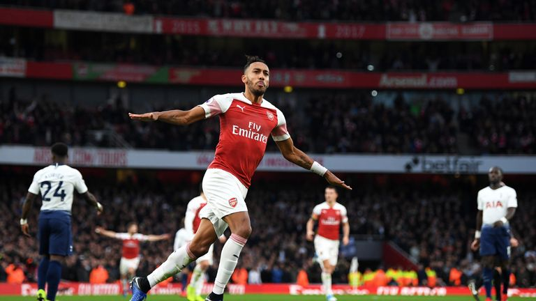Pierre-Emerick Aubameyang celebrates his and Arsenal's second goal of the game