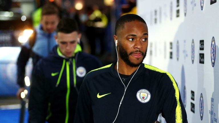 Raheem Sterling prior to the Premier League match between Chelsea FC and Manchester City at Stamford Bridge on December 8, 2018 in London, United Kingdom.
