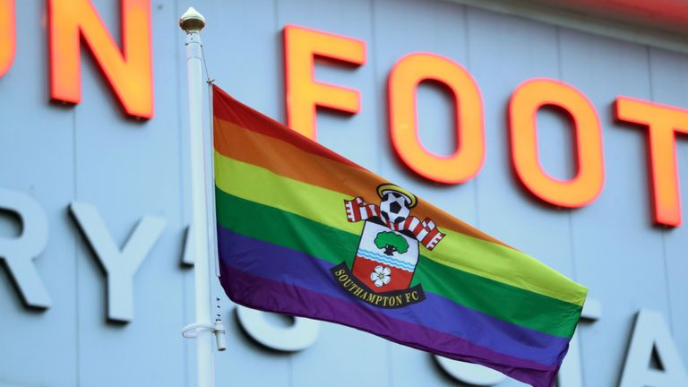 A general view of a rainbow flag flying outside the stadium prior to the Premier League match at St Mary's Stadium, Southampton