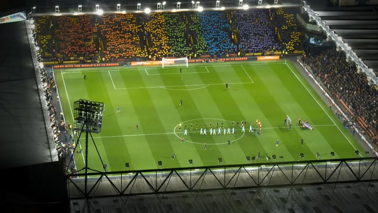 Screengrab of the rainbow tifo at Watford vs Manchester City, Premier League, Vicarage Road