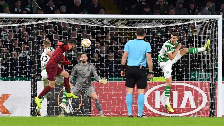 RB Salzburg's Moanes Dabour makes it 1-0 against Celtic