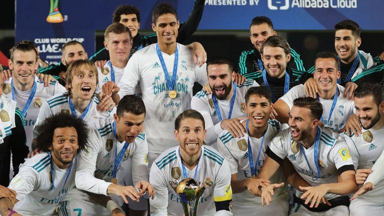 Sergio Ramos celebrates winning the 2017 Club World Cup