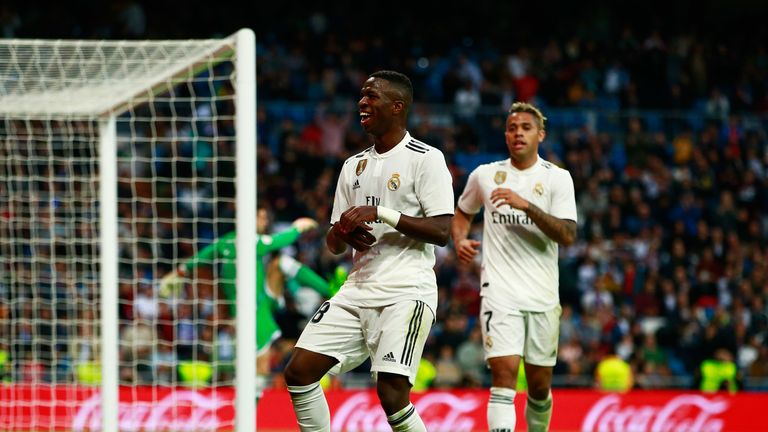 Vinicius Junior celebrates his goal