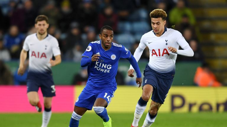 Ricardo Pereira of Leicester City runs with the ball past Dele Alli of Tottenham Hotspur during the Premier League match between Leicester City and Tottenham Hotspur at The King Power Stadium on December 8, 2018 in Leicester, United Kingdom