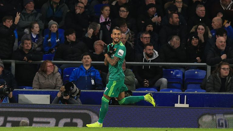 Watford's Roberto Pereyra celebrates after Everton's Seamus Coleman (not pictured) scored an own goal