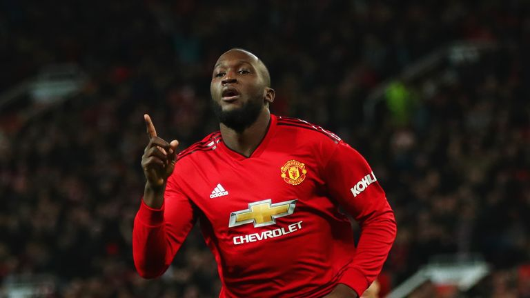 Romelu Lukaku celebrates his goal after coming on as a second-half substitute