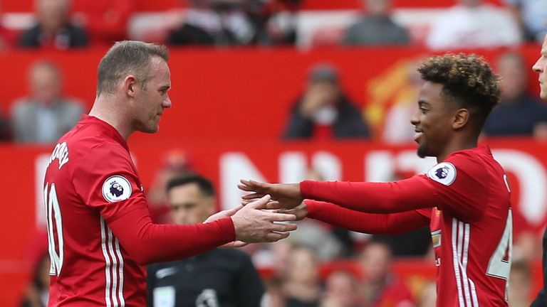 Angel Gomes came on for Wayne Rooney for his Man Utd debut