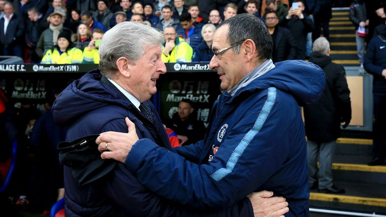 Roy Hodgson, Manager of Crystal Palace shakes hands with Maurizio Sarri, Manager of Chelsea prior to the Premier League match between Crystal Palace and Chelsea FC at Selhurst Park on December 30, 2018 in London, United Kingdom.