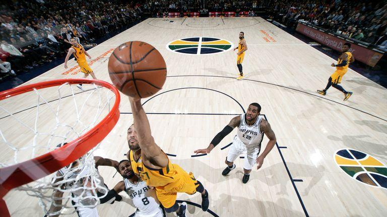 Rudy Gobert #27 of the Utah Jazz shoots the ball against the San Antonio Spurs on December 4, 2018 at vivint.SmartHome Arena in Salt Lake City, Utah.