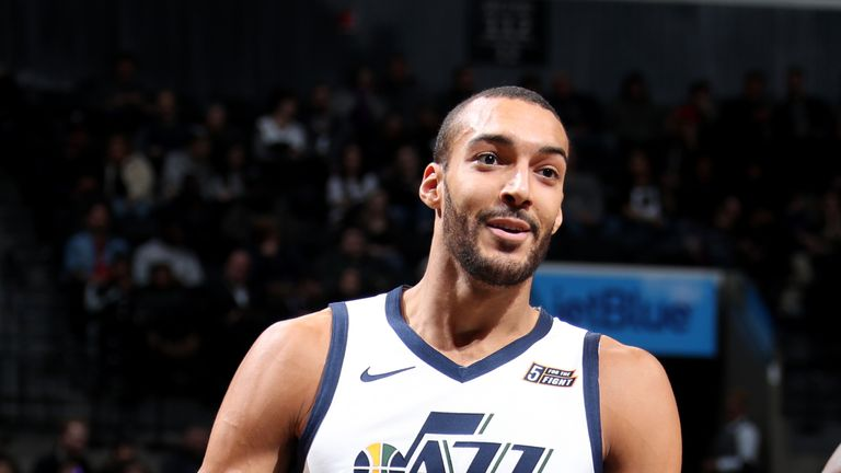 BROOKLYN, NY - NOVEMBER 28: Rudy Gobert #27 of the Utah Jazz reacts during a game against the Brooklyn Nets on November 28, 2018 at Barclays Center in Brooklyn, New York. NOTE TO USER: User expressly acknowledges and agrees that, by downloading and or using this Photograph, user is consenting to the terms and conditions of the Getty Images License Agreement. Mandatory Copyright Notice: Copyright 2018 NBAE (Photo by Nathaniel S. Butler/NBAE via Getty Images)