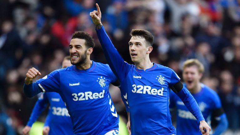 Rangers' Ryan Jack celebrates his opener with Connor Goldson (left)