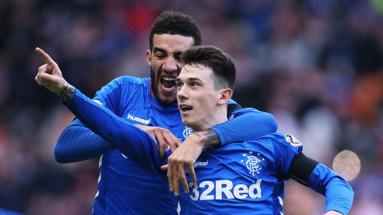 Ryan Jack of Rangers celebrates scoring his teams first goal of the game