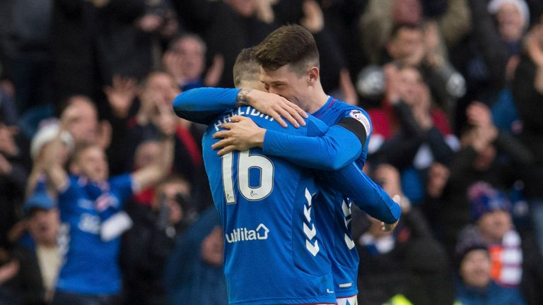 Rangers' Andy Halliday (left) and Ryan Jack at full-time