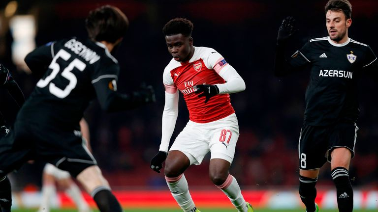 Arsenal's Bukayo Saka impressed in the Gunners' 1-0 win over Qarabag
