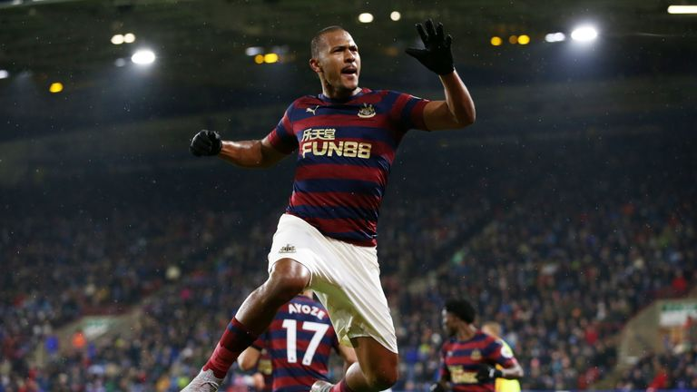 Salomon Rondon of Newcastle United celebrates after scoring his team's first goal