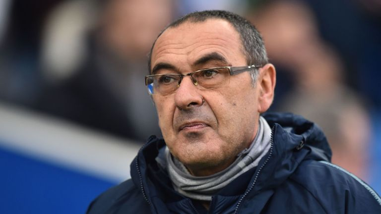 Chelsea's Italian head coach Maurizio Sarri arrives for the English Premier League football match between Brighton and Hove Albion and Chelsea