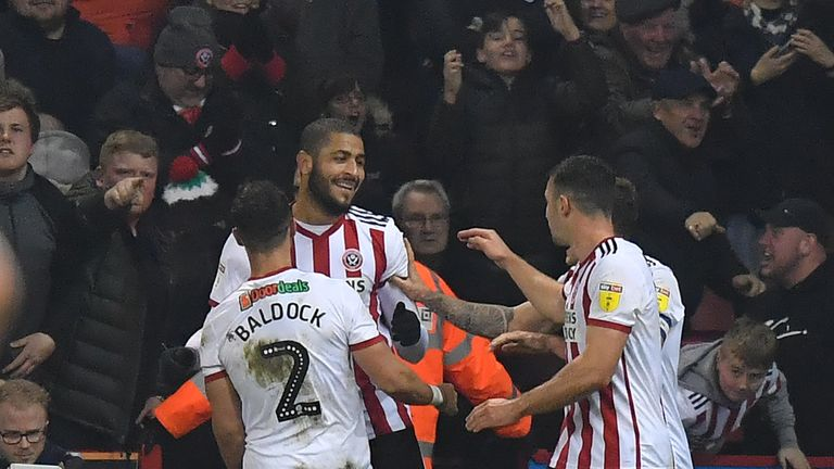 Sheffield United celebrate beating Derby