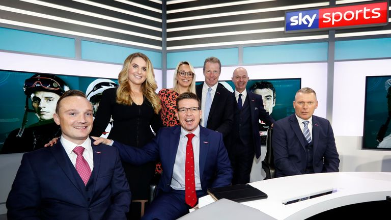 The new Sky Sports Racing studio, with presenters Freddie Tylicki, Hayley Moore, Jason Weaver, Alex Hammond, Mick Fitzgerald, Luke Harvey and Matt Chapman
