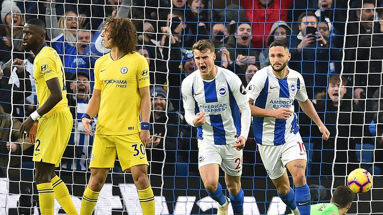 Solly March pulled a goal back for Brighton