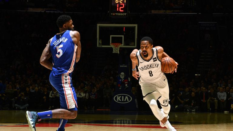 Spencer Dinwiddie of the Brooklyn Nets handles the ball against the Philadelphia 76ers