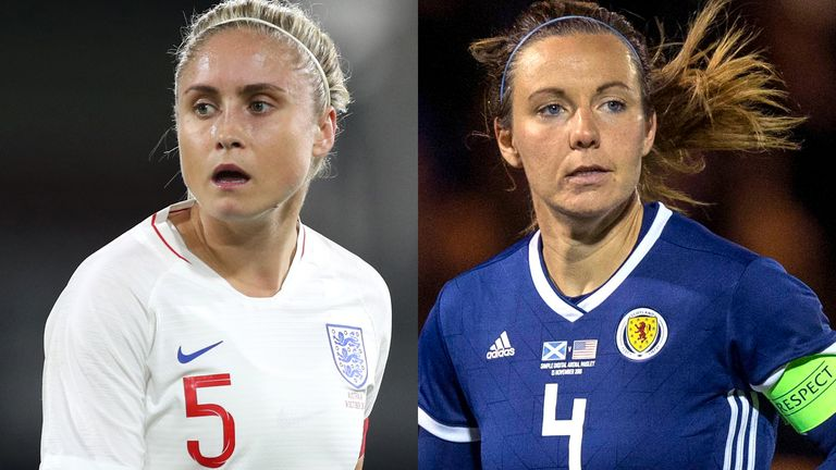 England's Steph Houghton and Scotland's Rachel Corsie