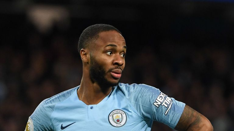 Raheem Sterling during the Premier League match between Manchester City and Bournemouth.