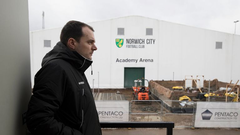 Norwich City football club's sporting director Stuart Webber looking over new building work on the club's academy at the Colney training centre