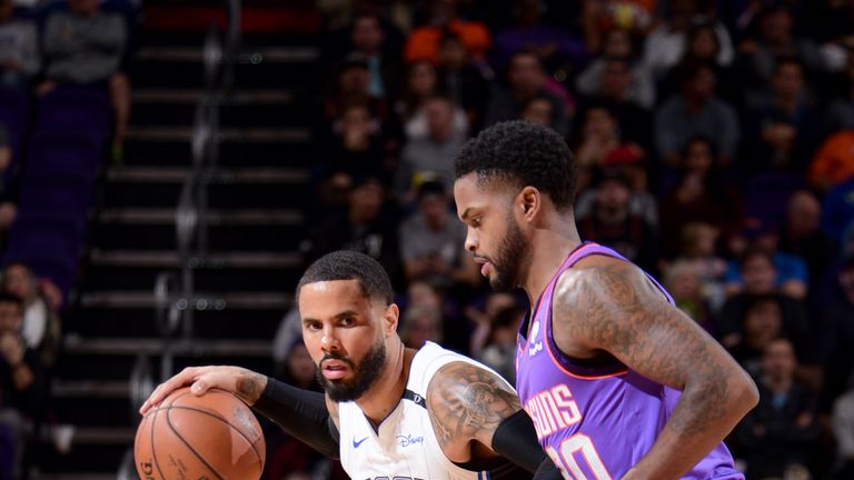 PHOENIX, AZ - NOVEMBER 30: D.J. Augustin #14 of the Orlando Magic handles the ball against the Phoenix Suns on November 30, 2018 at Talking Stick Resort Arena in Phoenix, Arizona. NOTE TO USER: User expressly acknowledges and agrees that, by downloading and/or using this photograph, user is consenting to the terms and conditions of the Getty Images License Agreement. Mandatory Copyright Notice: Copyright 2018 NBAE (Photo by Michael Gonzales/NBAE via Getty Images)