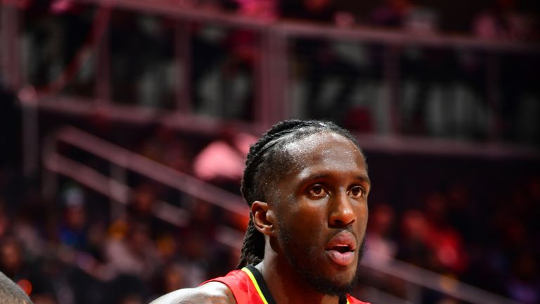 ATLANTA, GA - NOVEMBER 25: Taurean Prince #12 of the Atlanta Hawks looks on during a game against the Charlotte Hornets on November 25, 2018 at State Farm Arena in Atlanta, Georgia.  NOTE TO USER: User expressly acknowledges and agrees that, by downloading and/or using this Photograph, user is consenting to the terms and conditions of the Getty Images License Agreement. Mandatory Copyright Notice: Copyright 2018 NBAE (Photo by Scott Cunningham/NBAE via Getty Images)