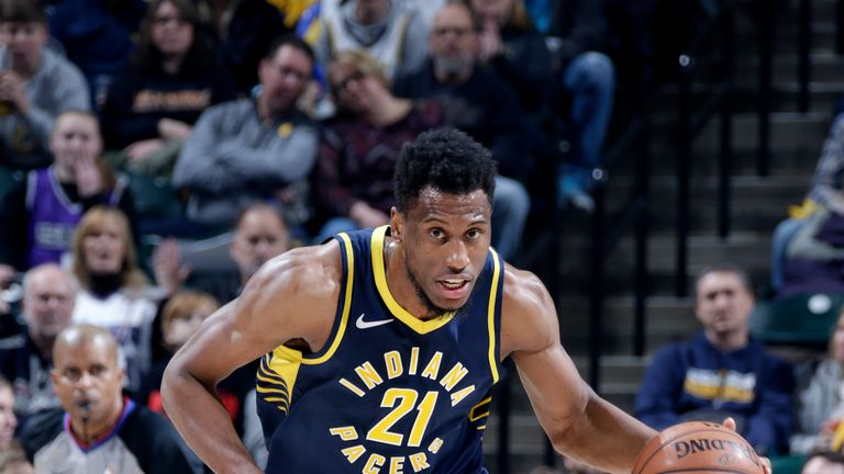 Thaddeus Young #21 of the Indiana Pacers handles the ball against the Sacramento Kings on December 8, 2018 at Bankers Life Fieldhouse in Indianapolis, Indiana.