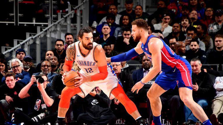 DETROIT, MI - DECEMBER 3: Steven Adams #12 of the Oklahoma City Thunder handles the ball against the Detroit Pistons on December 3, 2018 at Little Caesars Arena in Detroit, Michigan. NOTE TO USER: User expressly acknowledges and agrees that, by downloading and/or using this photograph, User is consenting to the terms and conditions of the Getty Images License Agreement. Mandatory Copyright Notice: Copyright 2018 NBAE (Photo by Chris Schwegler/NBAE via Getty Images)