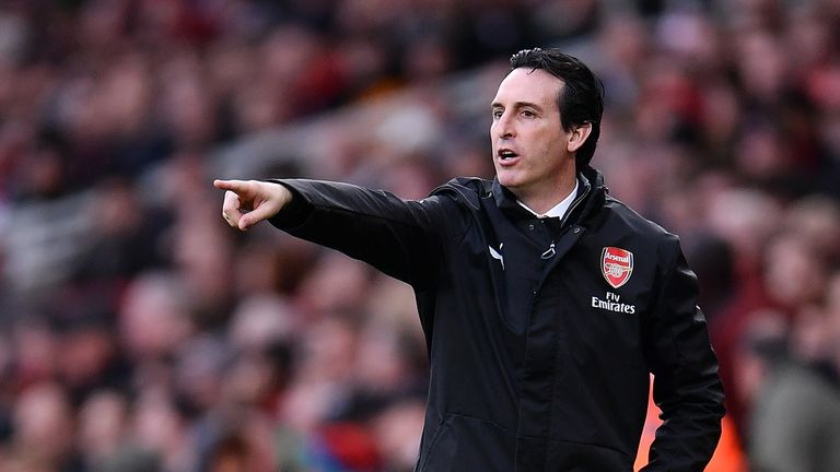 Unai Emery during the Premier League match between Arsenal FC and Huddersfield Town at Emirates Stadium on December 8, 2018 in London, United Kingdom.