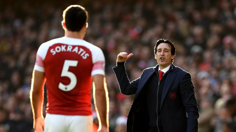 Unai Emery gestures from the touchline