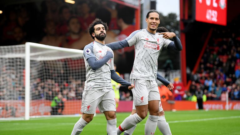 Mohamed Salah celebrates his second goal with Virgil van Dijk