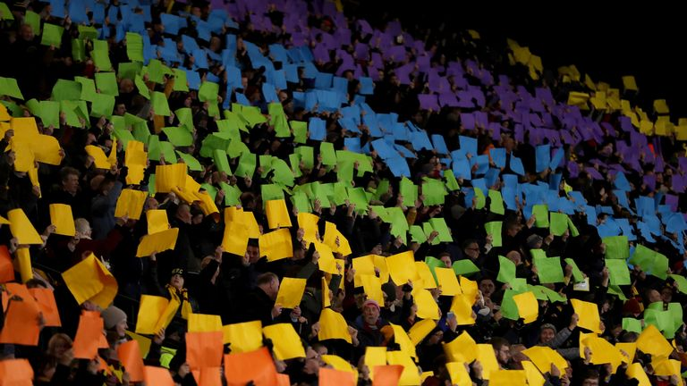 Watford fans in the Rookery End at Vicarage Road staged a rainbow mosaic on Tuesday
