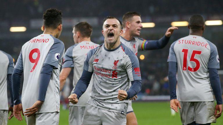 Xherdan Shaqiri celebrates scoring Liverpool's third goal