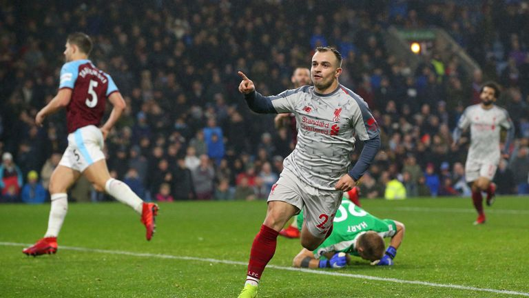 Xherdan Shaqiri celebrates scoring in Liverpool's win at Burnley