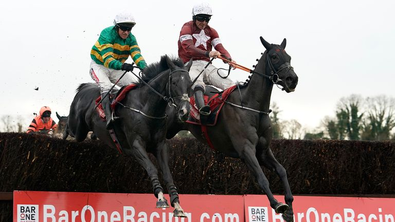 Davy Russell riding Delta Work (right) clear the last to win the baroneracing.com Drinmore Novice Chase from Barry Geraghty and Le Richebourg Racecourse on December 02, 2018 in Ratoath, Ireland. (Photo by Alan Crowhurst/Getty Images)