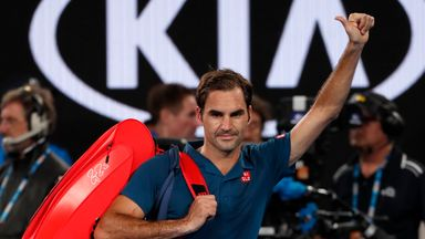 Roger Federer acknowledges the Rod Laver Arena crowd after his Australian Open defeat