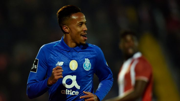 Porto defender Eder Militao celebrates a goal against Aves in January 2019