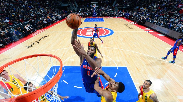 Andre Drummond soars for a dunk against the Milwaukee Bucks