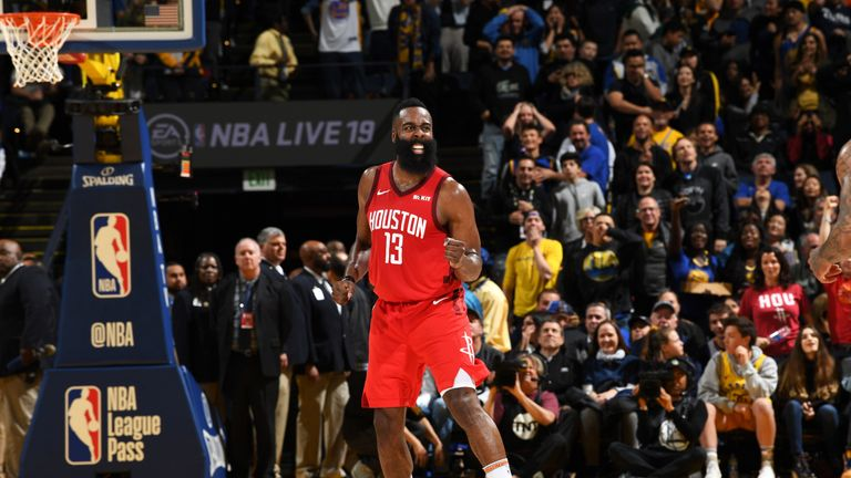 James Harden celebrates after nailing a last-second three-pointer