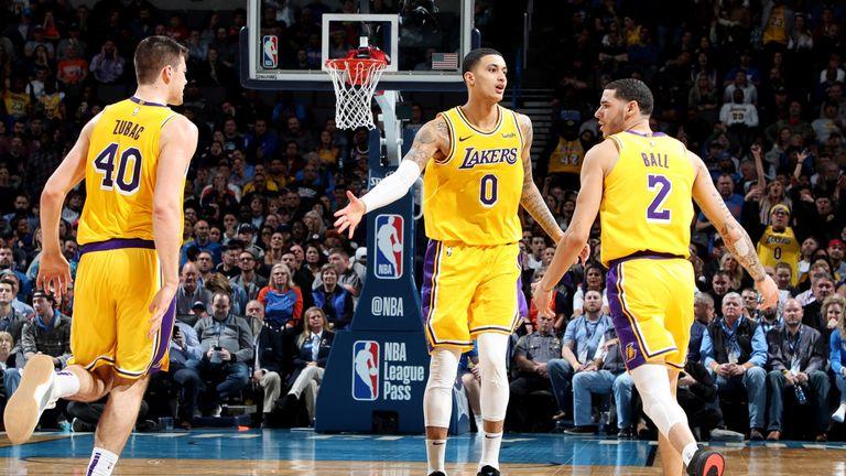 Kyle Kuzma and Lonzo Ball celebrate a basket against the Oklahoma City Thunder