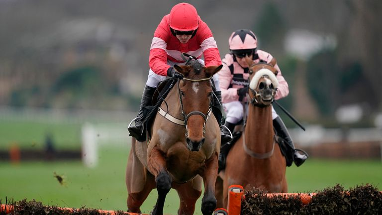 Ruby Walsh riding Laurina on their way to winning the Unibet Mares' Hurdle at Sandown